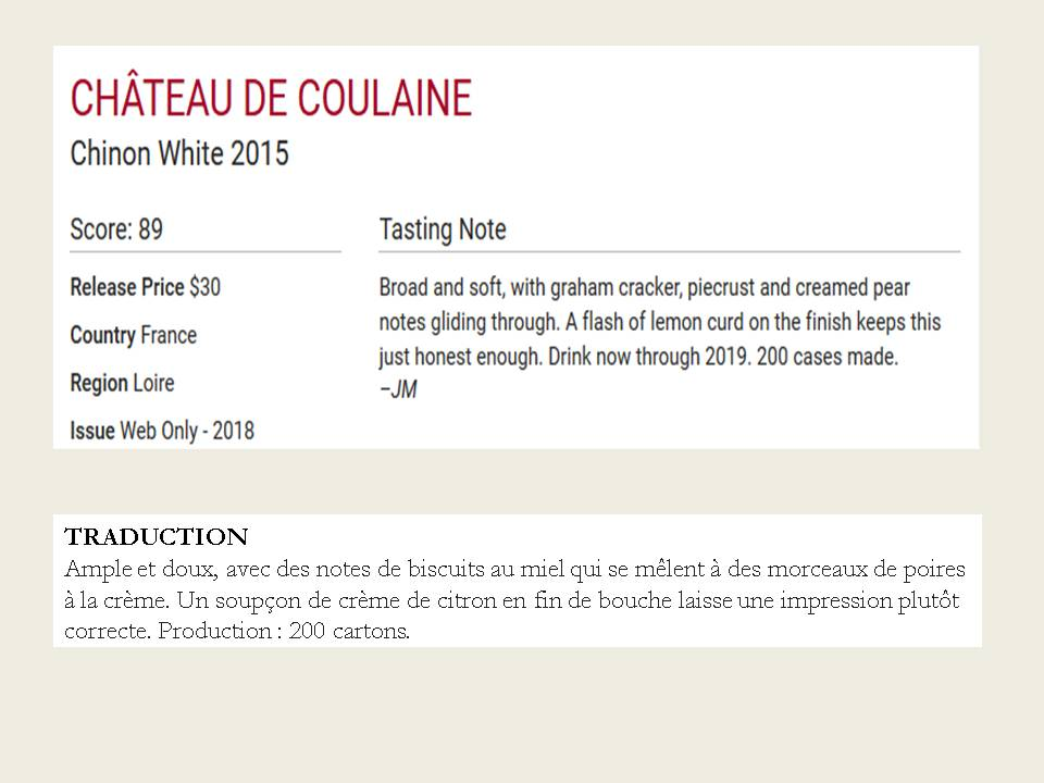 Château de Coulaine Blanc 2015